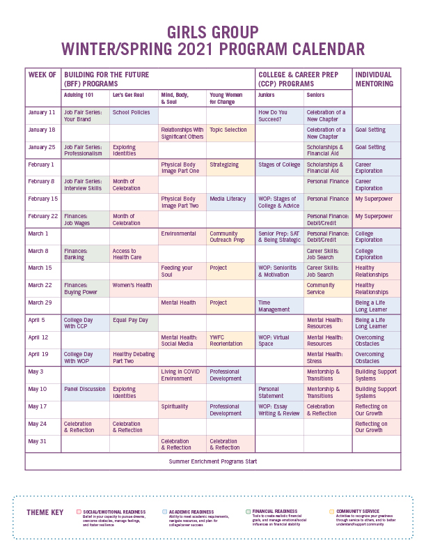 Girls Group Winter/Spring 2021 Program Calendar